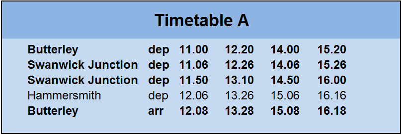 Timetable A