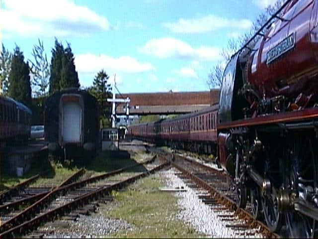 6233 Duchess of Sutherland arriving with scheduled passenger train - May 2002