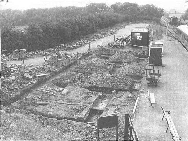 The foundation for Butterley Station building c1978